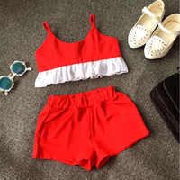 childrens clothing - Girl Dress Child Clothes Kids Clothing Girls Outfits New Childrens Lace Tank Tops Summer Shorts Children Set Kids Suit Outfits C6781