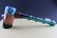 Wholesale Hand Blown Hammer design BLUE AMBER DARK GREEN COLORS glass pipe water pipe bubbler