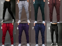 Wholesale Men Harem Baggy Sweat Pants Athletic Sporty Casual Tapered Sport Hip Hop Dance Trousers Slacks Joggers SweatPants Fashion Colors
