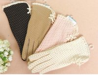 khaki shorts - Fashion Lace Short Sunscreen Gloves Anti uv No Slip Dot Cotton Pink White Khaki Mixed