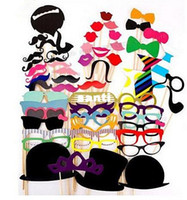 Wholesale 58pcs set Funny Photo Booth Props Hat Mustache On A Stick Wedding Birthday Party Favor