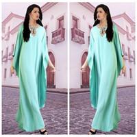 arabic ladies fashion - 2016 New Coming Kaftans Abaya Jalabiya Ladies Mint Beaded Evening Dresses Arabic Party Gowns Vestido De Festa Dubai Top Maxi Dress