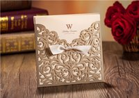 Wholesale Personalized Wedding Invitation Cards Floral Wedding Supplies Gold Laser Cut Hollow Chic Party Printable Wedding Invitation Printable Cards