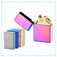 Wholesale Electric metal usb Electric Arc Rechargeable electronic arc men s cigarette lighter windproof USB Charging Pulse smorking lighters