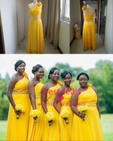 Beads african flowers photos - 2015 Real Image Long Chiffon Bridesmaid Dresses One Shoulder Beads Hand made Flower Empire Plus Size Prom Gowns African Traditional