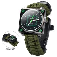 Wholesale Outdoor Sport Men Watch Survival Gear Escape Cord Emergency Survival Bracelet Wristwatch Rope Flint Whistle Scraper Buckle