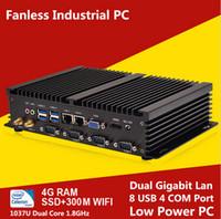 Wholesale Mini ITX Fanless Industrial PC Desktop Computer Intel Celeron U Barebone Machine RS232 COM port Gigabit LAN USB