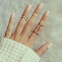 Cheap Wholesale-Shiny Punk style Crystal Gold plated Stacking midi Finger Knuckle ring Charm Leaf Ring Set for women anelli anillo Jewelry