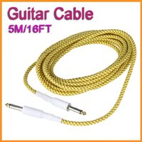 Wholesale High quality Brand New M FT Yellow Brown Cloth Braided Tweed Guitar Cable Cord Via DHL Freeshipping