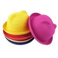 Wholesale Children s Cartoon Orecchiette Bucket Straw Hat Outdoor Travel Beach summer Sun Hat for Children Baby Cute hats