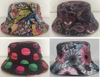 tea party hats - Cotton Wheel graffiti print tea party hats hip hop Cashew flowers summer bucket hats for men women