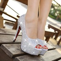 Wholesale 2017 new super flash diamond wedding shoe fish mouth high heeled shoes of Cinderella s glass slipper shoes bride shoes
