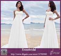 Wholesale 2014 Latest Hot Classic White Chiffon Wedding Dress Beach Formal Long Bridal Gown with Embroidery