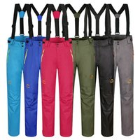 Wholesale Unisex snowboarding pants lovers couple ski pants with straps sports trousers winter warm waterproof windproof pants for skiing