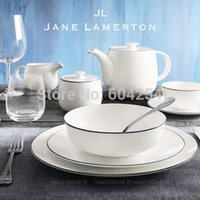 ECO Friendly dinner sets fine china - Free shiping piece blue rim pure white fine bone china dinner set for wedding gift