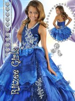 Wholesale Royal Blue Sequins Beaded Girls Pageant Dresses Halter Backless Tiered Organza CHarming Little Girl Pageant party Dress Floor Length TH