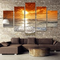 Cheap 5 Panel Modern Sea Wave Sandy Beach Canvas Paintings Oil Painting Cuadros Wall Art Home Decoration Prints On Canvas (No Frame)