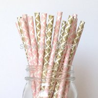 Wholesale 200pcs Mixed Colored Damask Paper Drinking Straws Pale Pink Gold Wedding Birthday Party Decorations Cake Pop Sticks