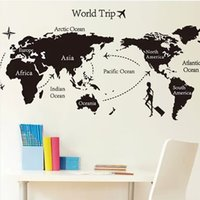 area wallpaper - DM57 Hot Travel Around The World Wall Stickers World Map Decal Large Area Wallpapers Black Wall Quote Office Decor