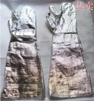 Wholesale High temperature heat insulation oven gloves Aluminium foil high temperature resistant insulating gloves degrees gloves