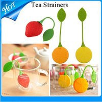 Wholesale Lemon Strawberry shape STRAWBERRY PEAR Tea Infuser Bags Tea Strainers Silicone Tea Filter spoon freeship high quality silicon tea infuser