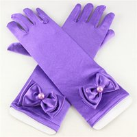 Wholesale PrettyBaby cm Stretch Satin Baby girls Solid Bow tie Gloves Gloves party gloves Accessories Hot sale pairs