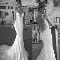 Wholesale Lace Spaghetti Straps Bridal Dresses New Sexy Princess Chiffon Sleeveless Mermaid Chapel Train Illusion Backless Wedding Dress Gowns