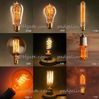Wholesale Vintage edison bulb Clear Glass Light Bulbs W E27 Bulbs incandescent Silk Light bulb Indoor Outdoor Decoration Retro lights