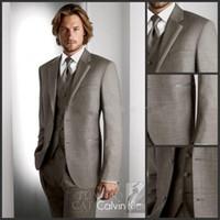 Wholesale Custom Made Two Buttons Groom Tuxedos Light Grey Best Man Notched Lapel Groomsmen Men Wedding Suits Bridegroom Jacket Pants Tie Vest TT963