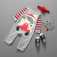 hat band - Cotton Christmas One Piece Baby Romper Suit Long Sleeved Boy Have Hat Girl Have Hair Band Christmas Clothes New Year Romper Kids Clothing