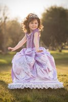 Wholesale Frozen Princess Dresses Clothing Round Collar Short Sleeve Little Gems Purple Big Girl Clothes Summer For Girls Children s Dress LY06