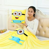 Wholesale Minion cm Folded Fleece Blanket Office Nap Plaid Couverture Also As Cushion Throw Blankets On Bed Minions Portable Mantas