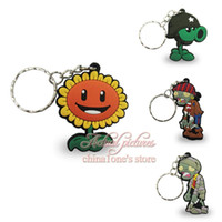 Wholesale Min Order Plants vs Zombies D Keychains Key Ring For Bags wallet Clothing Hot Games Key Accessories Children Cartoon Decoration Gift