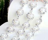 pearl trim - 1 Yard Sparkle Rhinestones Pearl Crystals Sunflower Silver Plated Ribbon Chain Trim Fow Sewing Wedding Dress Diy Craft
