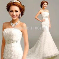 Cheap 2015 New Sexy Mermaid Sweetheart Stain Beaded Chapel Wedding Dresses Fashion Lace Corset Bridal Gowns Plus Size Can Be Customize