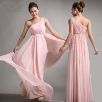 Cheap 2015 Bridesmaid Dresses Sweet princess Greek Style Goddess One-shoulder Bare Pink Party Dress Formal Evening Gowns BD004
