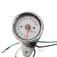 Wholesale Universal Sliver Motorcycle Dual Tachometer Speedometer Gauge LED Light RPM