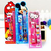 drawing ruler - Promotion Set Mix Color Children Kids Prizes Stationery Gifts School Stationery Set Pencils knife eraser ruler pencil sharpener M1968