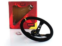 pvc leather car - 35cm OMP inch Racing Car Steering Wheel Suede Leather Genuine leather frosted PVC Drifting Steering Wheel