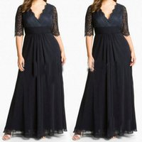 sexy mother - Plus Size Special Occasion Dresses V neck Sexy Lace Black Evening Gowns Ruffle Mother of the Bride Dresses Wedding Party Plus Long Dresses