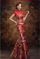 traditional chinese wedding dress - 2015 traditional red high neck chinese wedding dress cheongsam dress embroidery high end elegant qipao red chinese embroidery evening dress