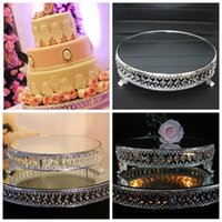 Wholesale Luxurious Mirror Cake Stands Plate For Wedding Birthday Home Hotel Party Table Decoration Crystal Metal Cake Shop Suppliers Cheap Online