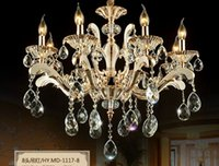 Wholesale European zinc alloy candle chandeliers bedroom living room dining hall large golden crystal lighting LED lamps