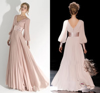 Wholesale Light Pink Prom Dresses Long Sleeve Evening Formal Gown Pleated V Neck Party Dress With Satin Sash Modern Women Pageant Gowns