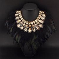Acheter Bijoux de mode indienne-Bijoux de style indien femmes Bijoux exagérer Design Pendentif en cristal de plumes noires Collier colliers de mode Collier # 2505