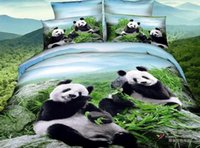 bamboo linen sheets - 3D Panda bedding set queen size cotton bed in a bag bamboo sheets quilt duvet cover western bedspreads bedsheets bedroom linen