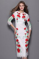 designer one piece dress - 2015 summer embroidery fashion lace dresses three quarter sleeve maxi long dress one piece dress brand designer dress white
