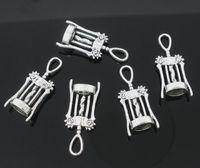 Fashion antique corkscrews - Antique Silver Tone wine corkscrew opener Charm Pendants x11mm Jewelry Findings Wholesales