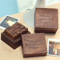wood letters - New Good Quality Vintage Multi purpose Alphabet Letter Number Wood Stamp Set Wooden Box For Daily Craft