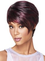 Cheap Wigs Fashion Women Party Sexy Heat Resistant Short Sexy party Straight Brown Mixed Synthetic Full Wig